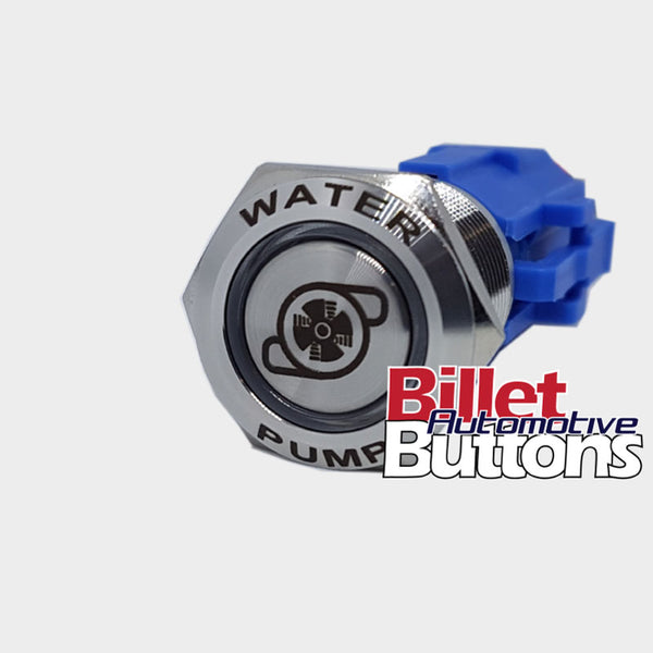 19mm FEATURED 'WATER PUMP SYMBOL' Billet Push Button Switch