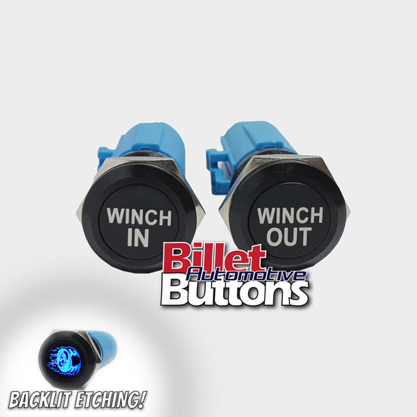 19mm Pair 'WINCH IN/OUT' Billet Push Buttons Switches