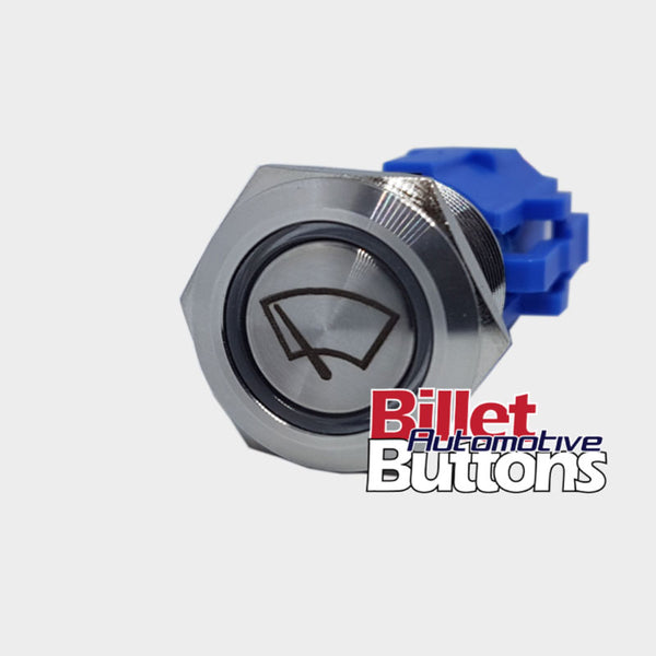 19mm 'WIPERS SYMBOL' Billet Push Button Switch Window Windscreen