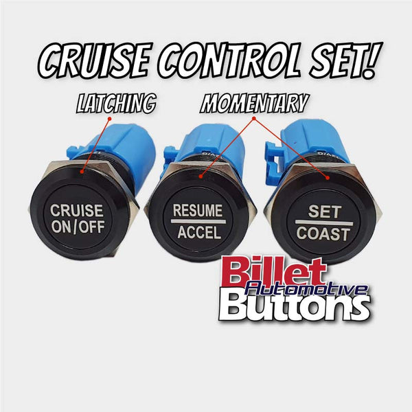 19mm 'CRUISE CONTROL SET' Billet Push Button Switches Car Universal