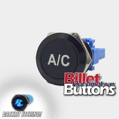 22mm 'A/C' Billet Push Button Switch Air conditioning Aircon
