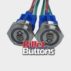 22mm Pair 'AIRBAG SUSPENSION SYMBOLS' Billet Push Buttons Switches Up Down air