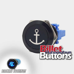 22mm 'ANCHOR SYMBOL' Billet Push Button Switch Marine