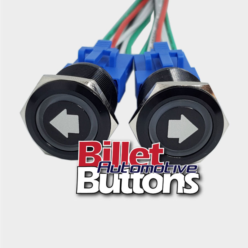 22mm Pair 'ARROW SYMBOLS' Billet Push Buttons Switches Power Windows Turn Signals etc