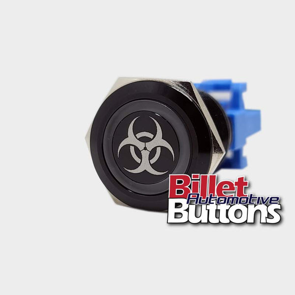 22mm 'BIO HAZARD SYMBOL' Billet Push Button Switch Biohazard