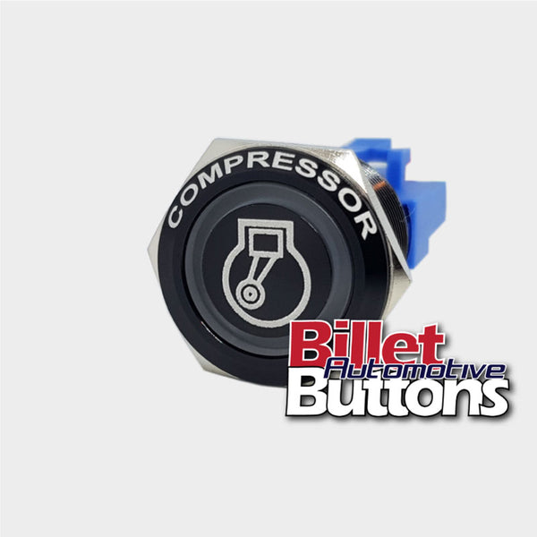 22mm FEATURED 'COMPRESSOR SYMBOL' Billet Push Button Switch Air Comp