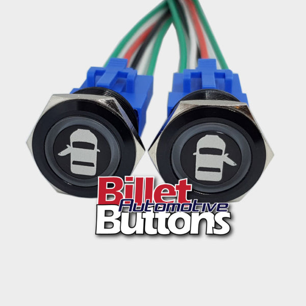 22mm Pair 'DOOR OPEN SYMBOLS' Billet Push Button Switches Opener Poppers