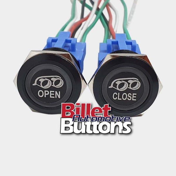 22mm Pair 'EXHAUST OPEN/CLOSE SYMBOL 2' Billet Push Buttons Switches Electric Cutouts
