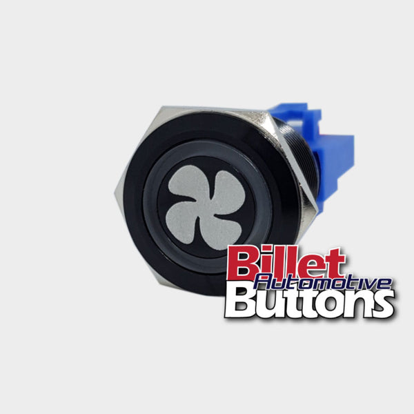 22mm 'FAN SYMBOL' Billet Push Button Switch Engine Fans Fan