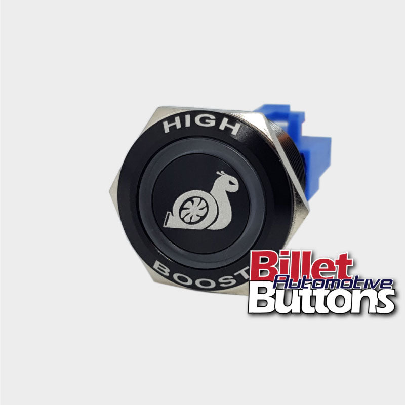22mm FEATURED 'HIGH BOOST SNAIL SYMBOL' Billet Push Button Switch Boost Controller etc