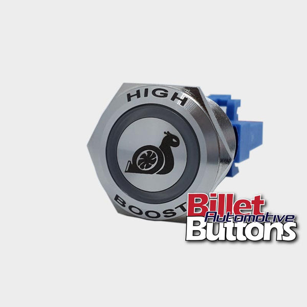 22mm FEATURED 'HIGH BOOST SNAIL SYMBOL' Billet Push Button Switch Boost Controller Turbo etc