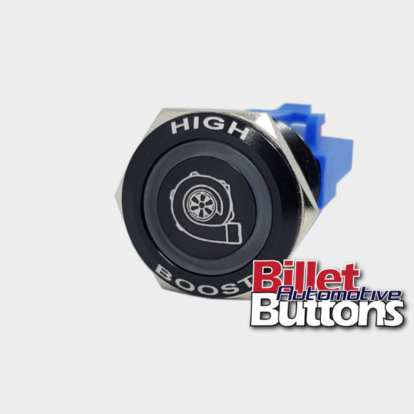 22mm FEATURED 'TURBO SYMBOL' Billet Push Button Switch High Boost