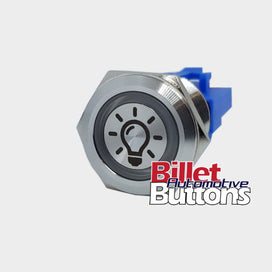 22mm 'LIGHT BULB SYMBOL' Billet Push Button Switch Interior Light