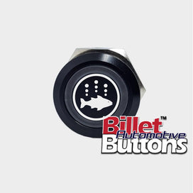 22mm 'FISH FINDER SYMBOL' Billet Push Button Switch Marine Aerator Live Well Box
