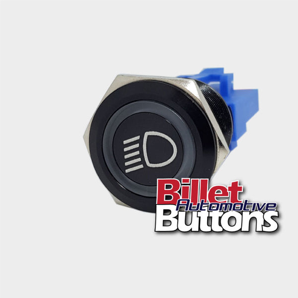 22mm 'HEADLIGHT SYMBOL' Billet Push Button Switch Low Beam Dipped Head Light