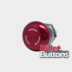 22mm 'EMERGENCY STOP' Billet Push Button Switch Red Mushroom E-Stop