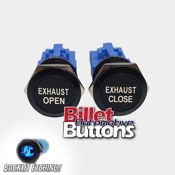 22mm Pair 'EXHAUST OPEN/CLOSE' Billet Push Buttons Switches Electric Cutouts