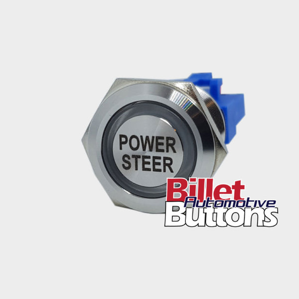 22mm 'POWER STEER' Billet Push Button Switch Steering