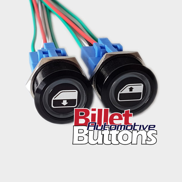 22mm Pair 'POWER WINDOWS SYMBOLS' Billet Push Button Switches