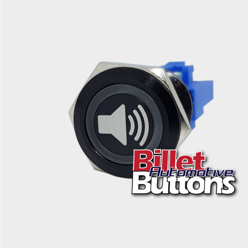 22mm Speaker Symbol Billet Push Button Switch Stereo Radio Etc