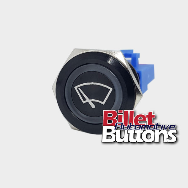 22mm 'WIPERS SYMBOL' Billet Push Button Switch Windscreen Window Wiper