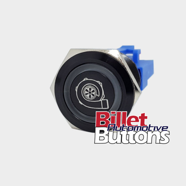 22mm 'TURBO SYMBOL' Billet Push Button High Boost Controller Solenoid etc Switch