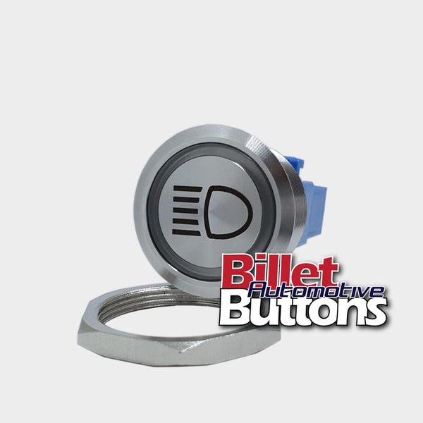 28mm 'HEADLIGHTS SYMBOL' Billet Push Button Switch Lights High Beam