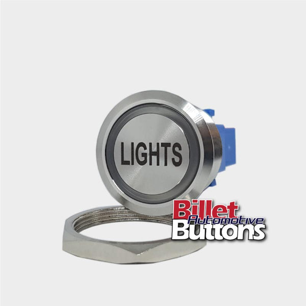 28mm 'LIGHTS' Billet Push Button Switch