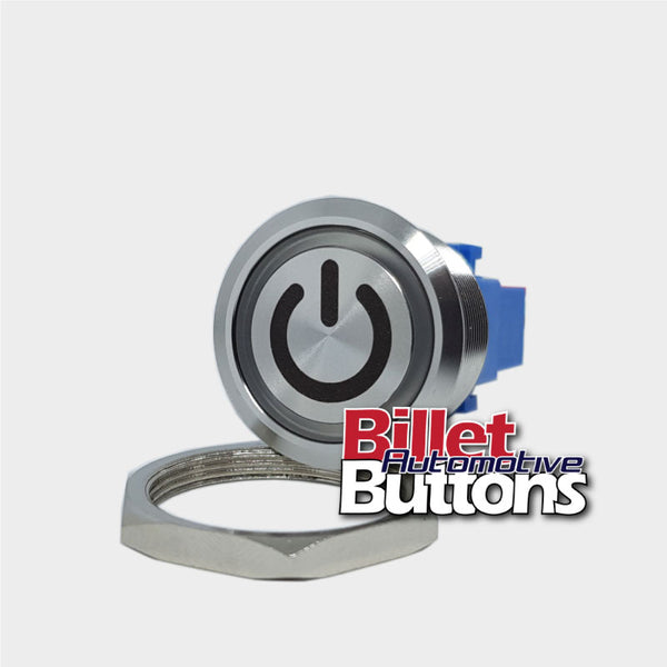 28mm 'POWER SYMBOL' Billet Push Button Switch Ignition Start etc