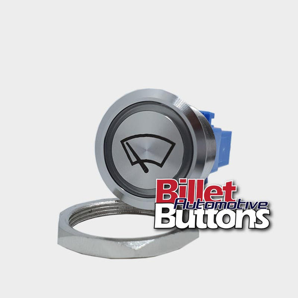 28mm 'WIPERS SYMBOL' Billet Push Button Switch Windscreen Windshield Window etc