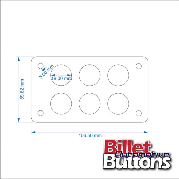 Billet Button 6 hole laser cut switch panel