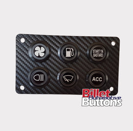 22mm Billet Button 6 hole laser cut perspex panel 116x66mm - Billet Automotive Buttons