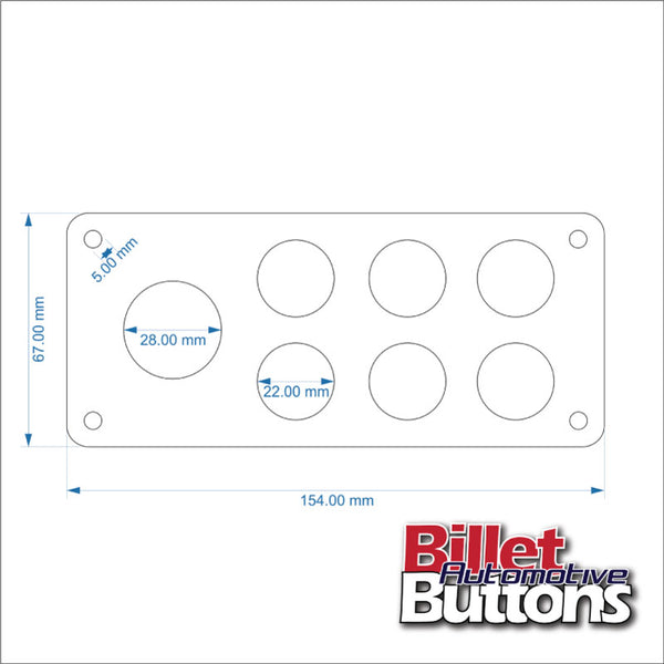 Billet Button 7 hole laser cut switch panel