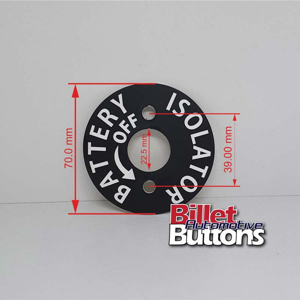 Battery Isolator Label Laser Etched Panel Disc 3M adhesive for car disconnect master switch key
