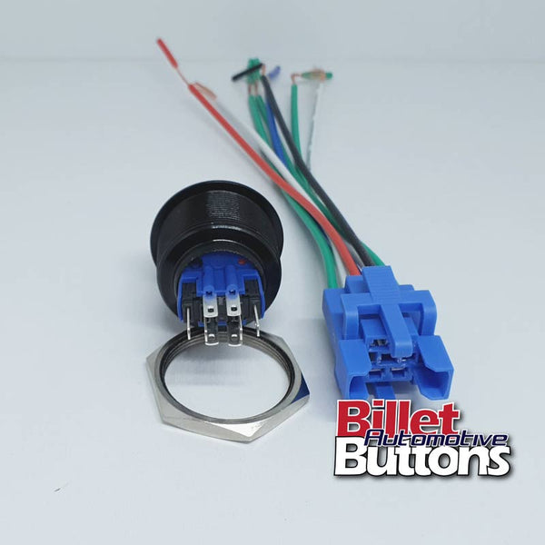 28mm LARGE BEZEL 'GO BABY GO' Billet Push Button Switch