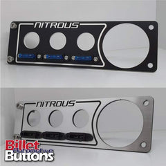 "Laser Cut Switch Panel Billet Buttons Fuse Mount Single DIN 188mm(7.4"")x58mm(2.3"") nitrous"