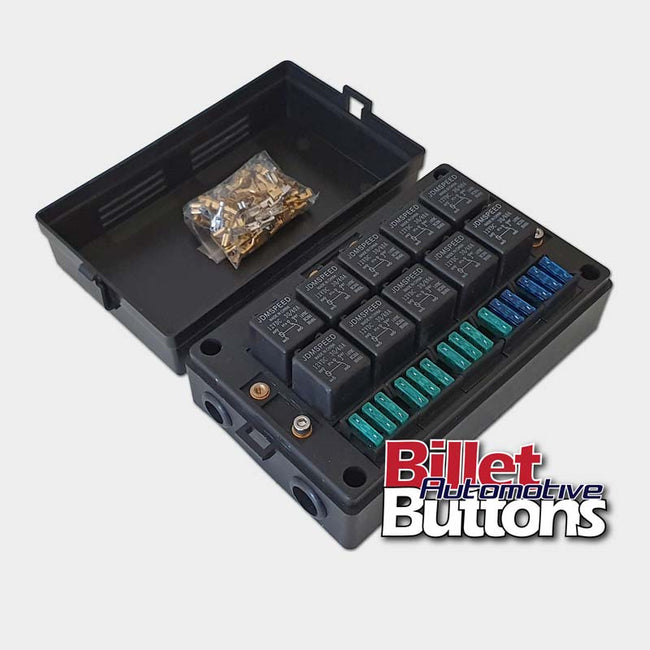 Relay / Fuse Holder Mounting Box Holds 10x Relays, Fuses & Crimp TermiBillet Automotive Buttons