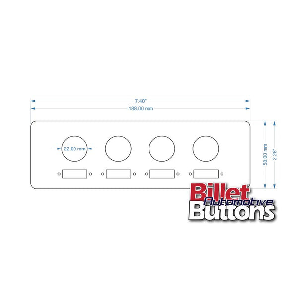 Laser Cut Switch Panel Billet Buttons Fuse Mount Single DIN 188mm(7.4