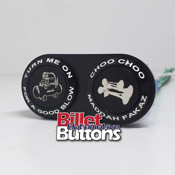 22mm 'TRAIN HORN BUTTONS PAIR SPECIAL' Billet Push Button Switch Truck Air Horns Choo Choo