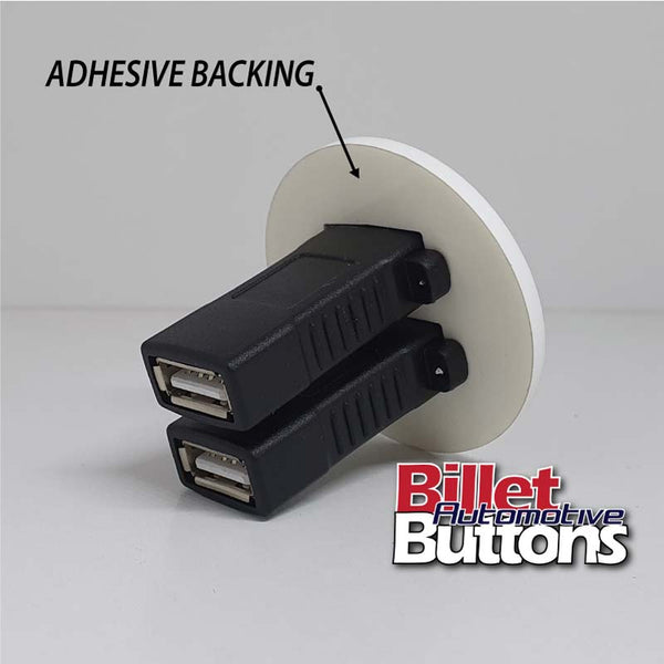 Dual USB 2.0 Data Bulkhead Adapter Panel Mount Universal Adhesive Backing Custom Laser Etching