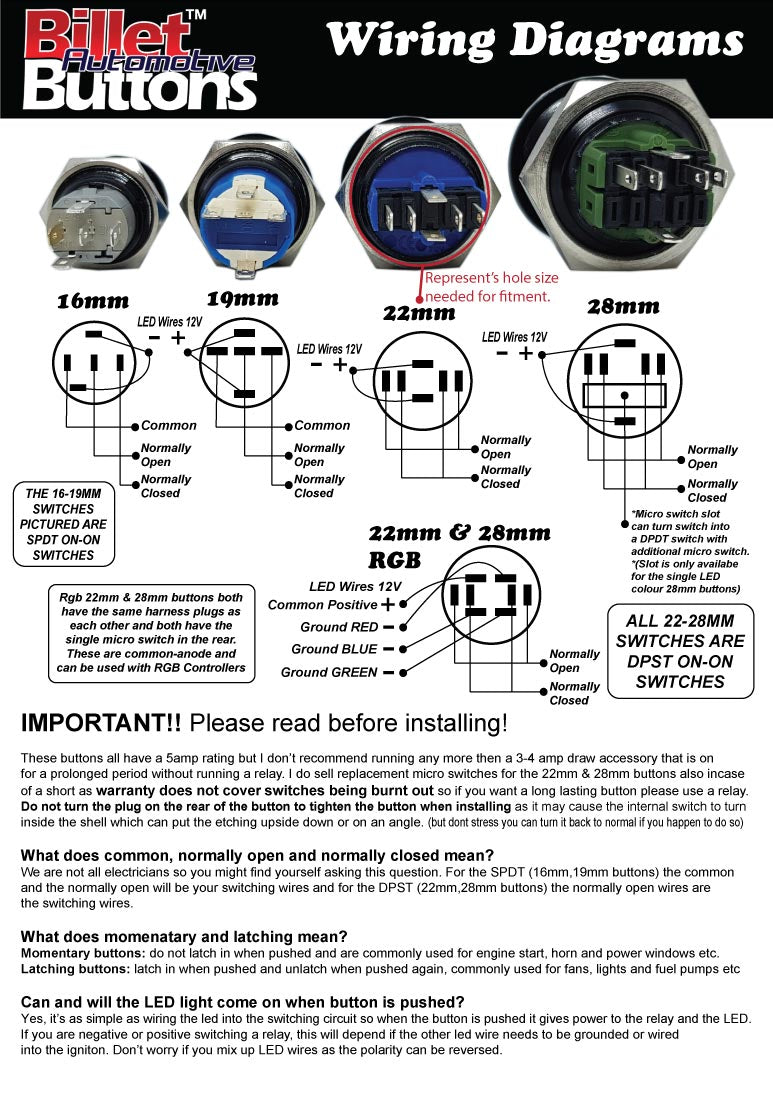 Billet Automotive Buttons Wiring Diagrams