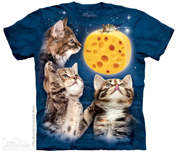 Three Kitten Cheese Moon - T-Shirt - Moonstoneartwear