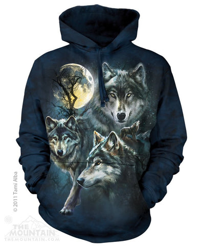 Moon Wolves Collage - Hoodies - Moonstoneartwear