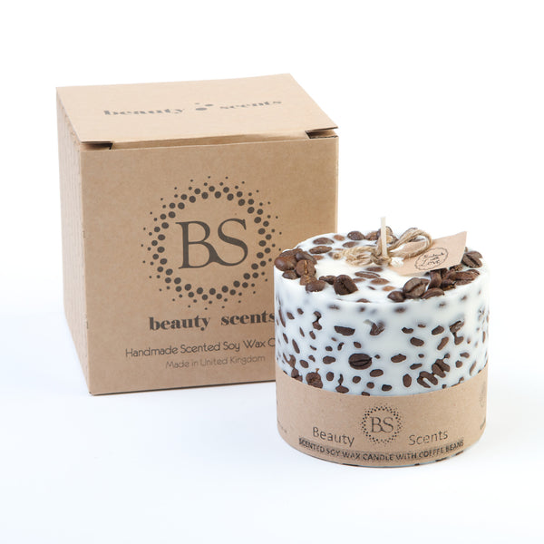 Beauty Scents Vanilla & Coffee Scented Soy Wax Candle with Coffee Beans