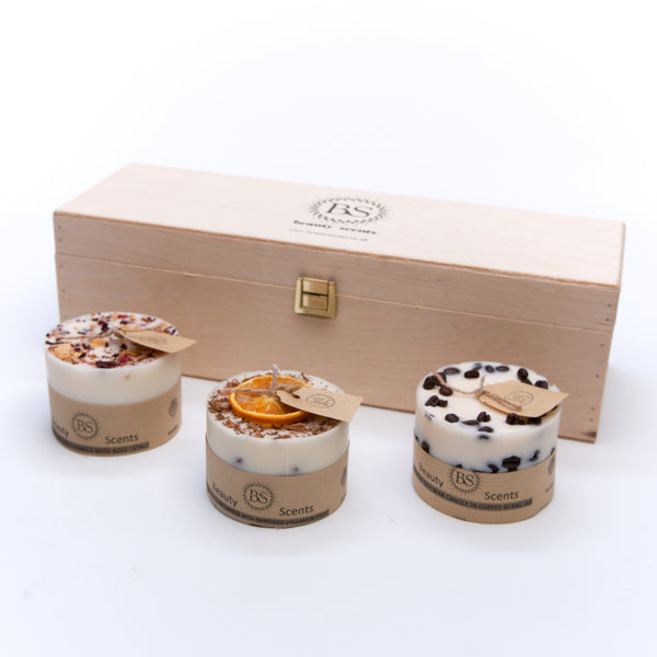 Beauty Scents 3 Different Small Candle Giftset in Wooden Box