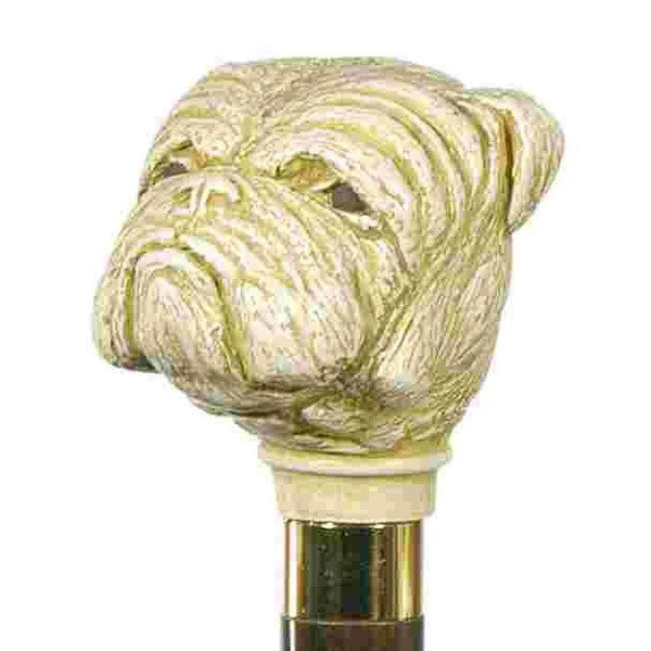 Classic Canes Bulldog, imitation ivory, hardwood shaft, gilt collar