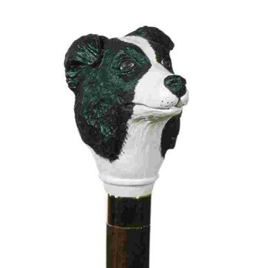Classic Canes Border Collie, painted resin, hardwood shaft, gilt collar
