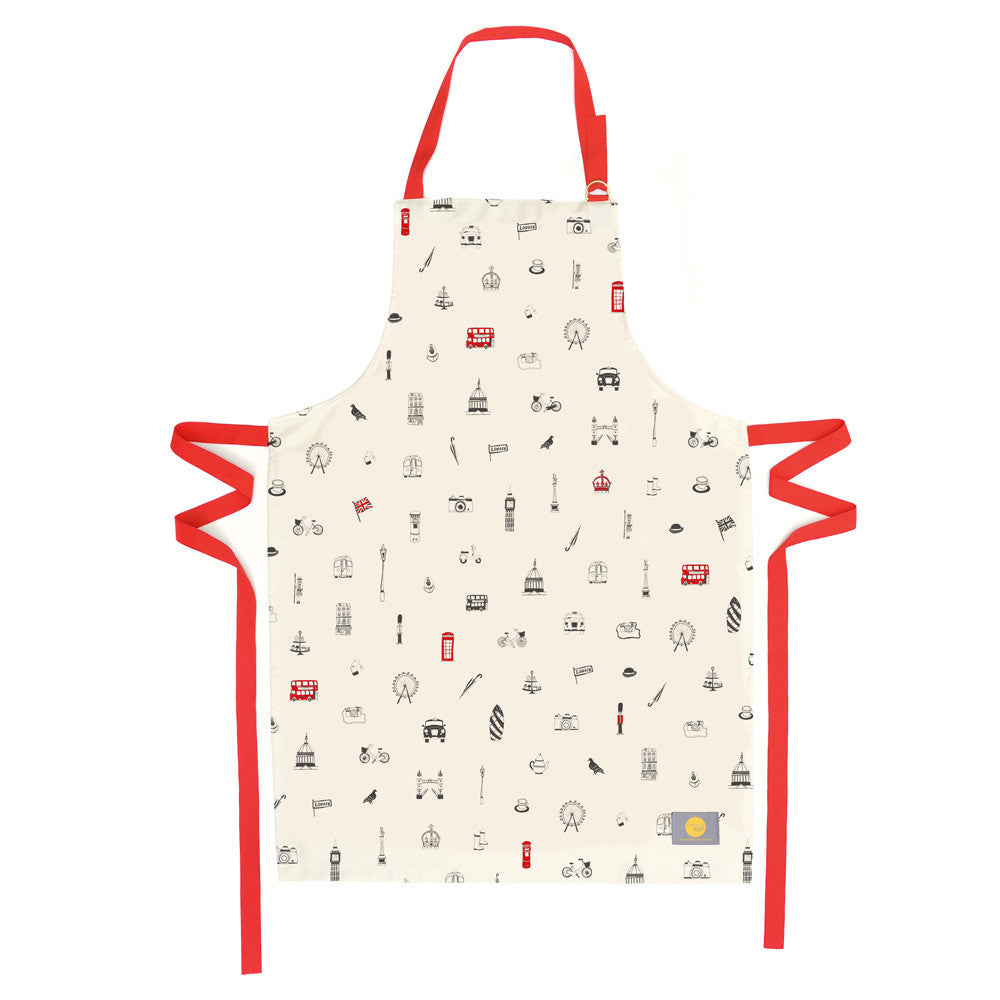 Victoria Eggs Simply London Dinner Apron - Red & Charcoal