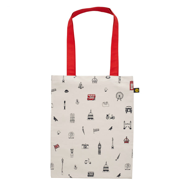 Victoria Eggs Simply London Canvas Bag - Red & Charcoal