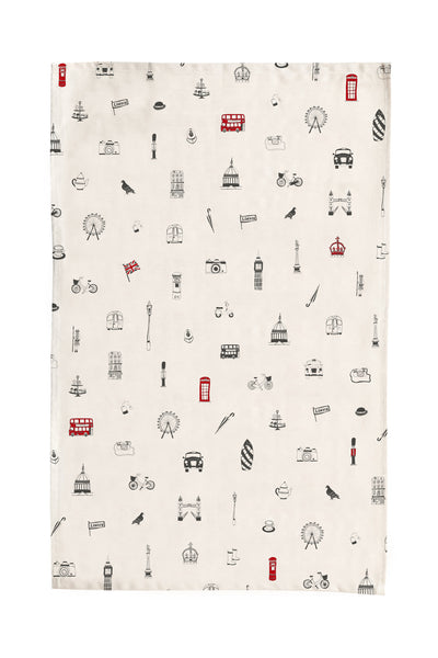 Victoria Eggs Simply London Tea Towel - Red & Charcoal